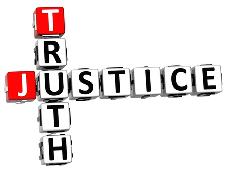 3D Justice Truth Crossword on white background photo