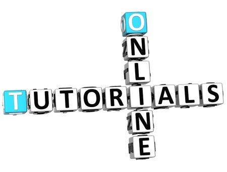 3D Tutorials Online Crossword on white background photo