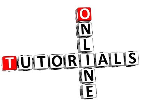3D Tutorials Online Crossword on white background Stock Photo