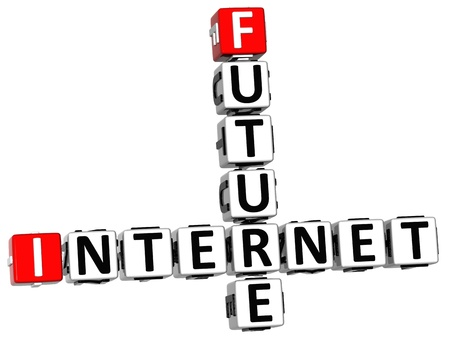 3D Future Internet Crossword on white background photo