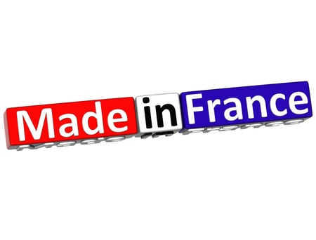 made russia: 3D Made in France over white background
