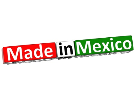 3D Made in Mexico over white background photo