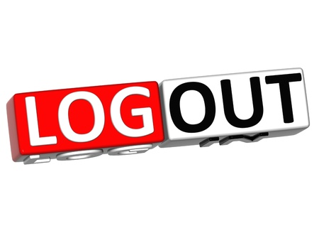 log out: 3D Log in out over white background Stock Photo
