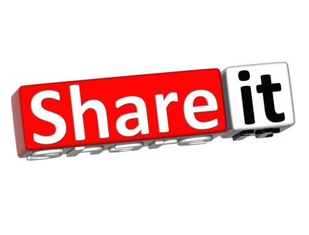 3D Share it over white background photo