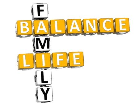 3D Balance Life Family Crossword on white background Stock Photo - 11841655