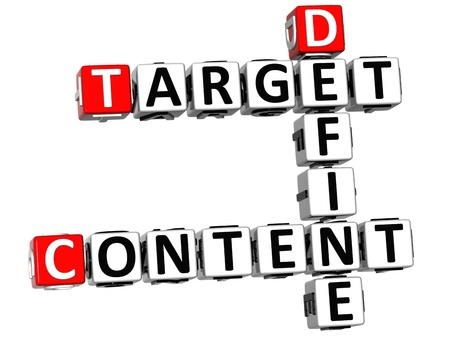 3D Define Target Content Crossword on white background photo