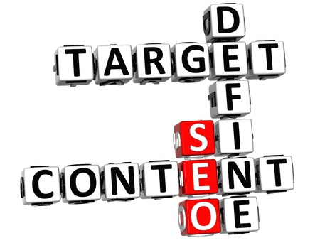 define: 3D Define Target Content Crossword on white background Stock Photo