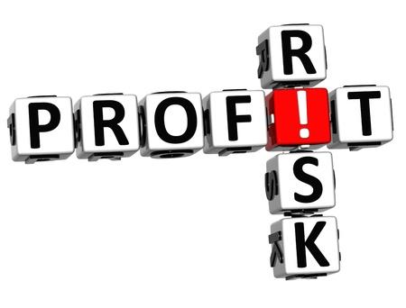 credit risk: 3D Credit Risk Crossword on white background