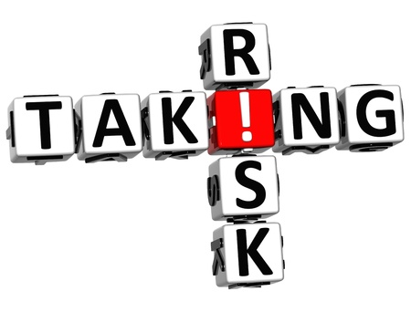 taking a risk: 3D Taking Risk Crossword on white background