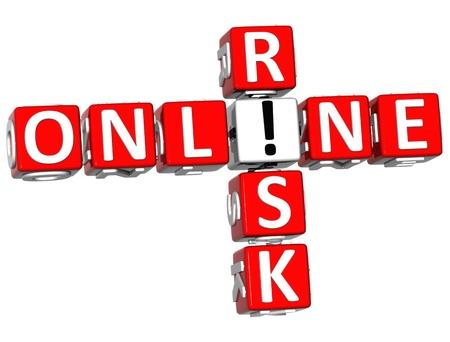 3D Online Risk Crossword on white background photo