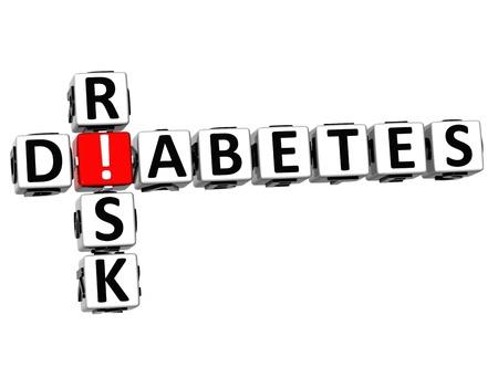 diabetes: 3D Diabetes Risk Crossword on white background