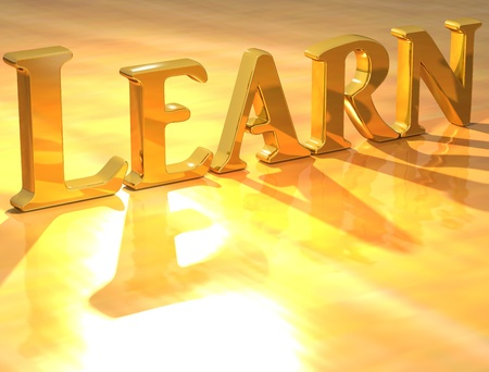 3D Learn Gold text over yellow background photo