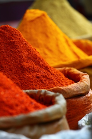 india pattern: Traditional spices market in India.