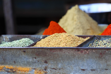 Traditional spices market in India photo