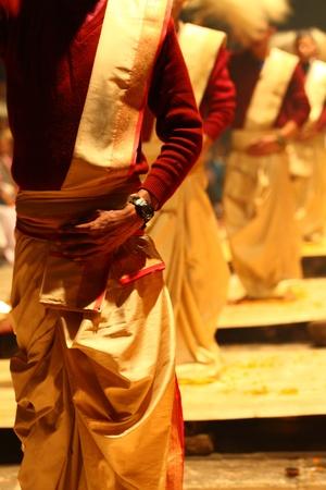 An unidentified Hindu priest during religious Ganga Aarti ritual