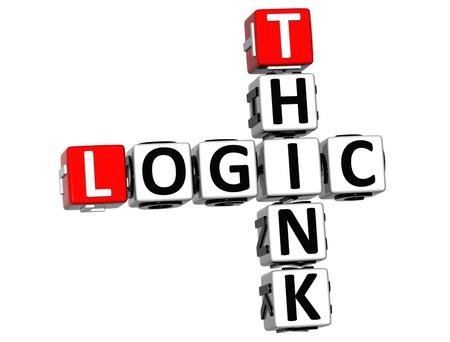 3D Think Logic Crossword on white background Stock Photo - 12309306
