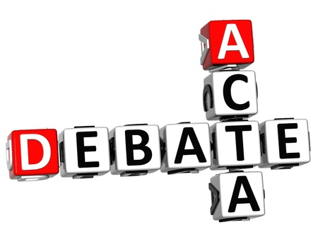 3D Debate Acta Crossword on white background photo