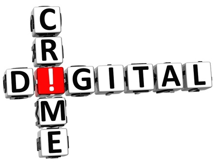 3D Digital Crime Crossword on white background Stock Photo - 12309321