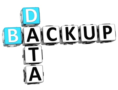 data backup: 3D Backup Data Crossword on white background