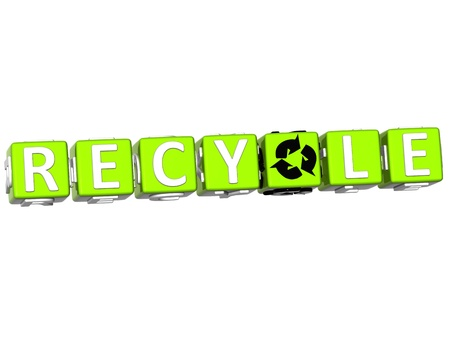 3D Recycle Block Text on white background photo