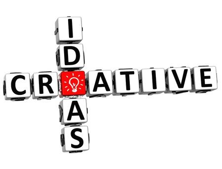 3D Creative Idea Crossword on white background Stock Photo - 12309136