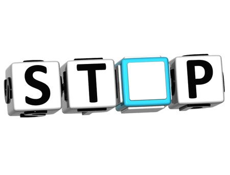 3D Stop block text over white background Stock Photo - 12309215