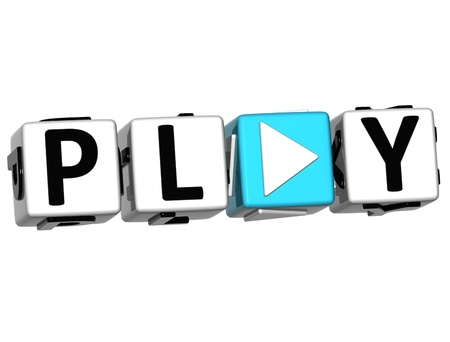 3D Play block text over white background photo
