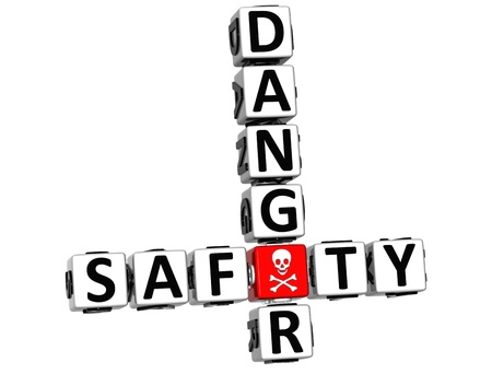 3D Safety Danger Crossword over white background photo