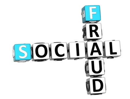 3D Social Fraud Crossword over white background Stock Photo - 12309154