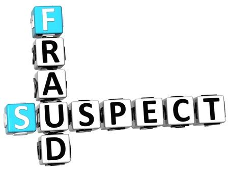 suspect: 3D Suspect Fraud Crossword over white background