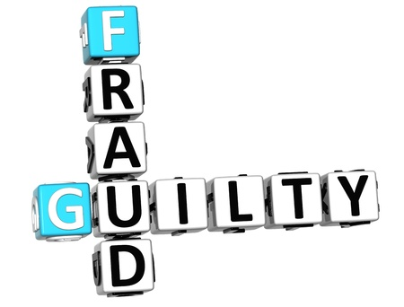 3D Guilty Fraud Crossword over white background photo
