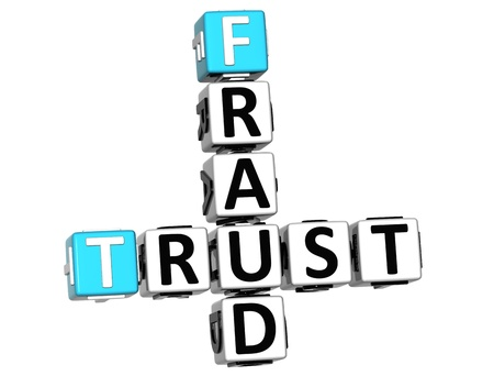 3D Trust Fraud Crossword over white background Stock Photo - 12309179