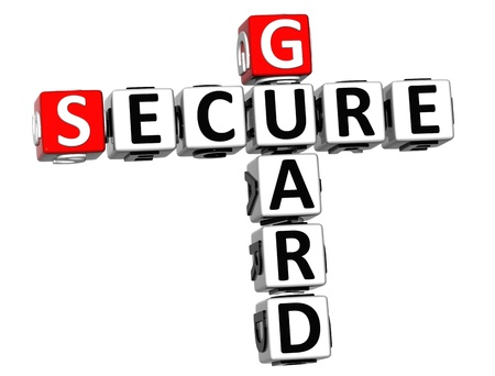3D Secure Guard Crossword over white background photo