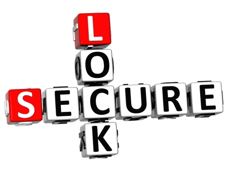 3D Secure Lock Crossword over white background photo