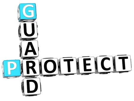 3D Protect Guard Crossword over white background photo