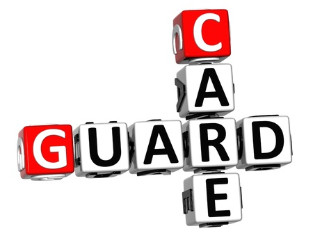 3D Guard Care Crossword over white background Stock Photo - 12309066