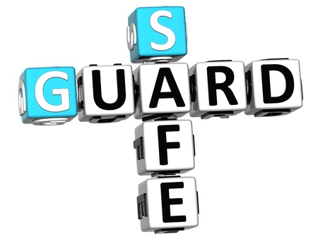 3D Guard Safe Crossword over white background Stock Photo - 12309067