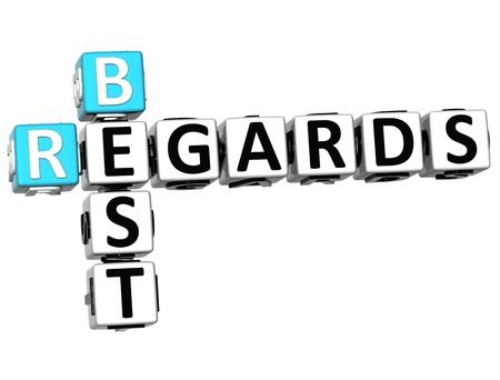 regards: 3D Best Regards Crossword on white background