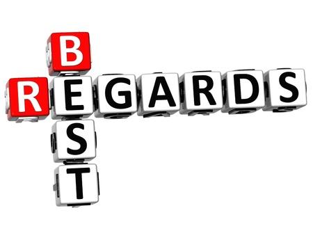 best regards: 3D Best Regards Crossword on white background