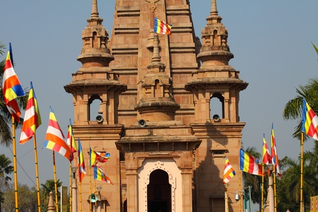 sarnath: Beautiful towers of modern Mulagandhakuti Vihara temple, sarnath Editorial