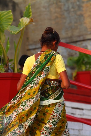 Indian women in national clothes in Varanasi, Uttar Pradesh, India.