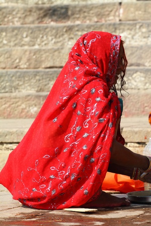 Indian women in national clothes in Varanasi, Uttar Pradesh, India.
