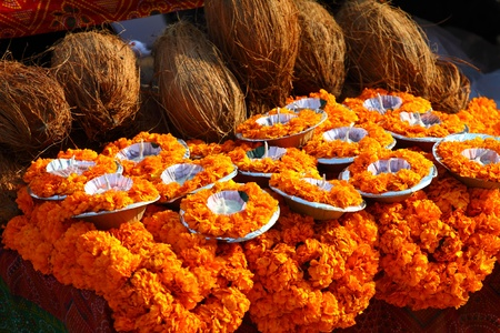 floral arrangment for holi festival and religious offerings in india.  photo