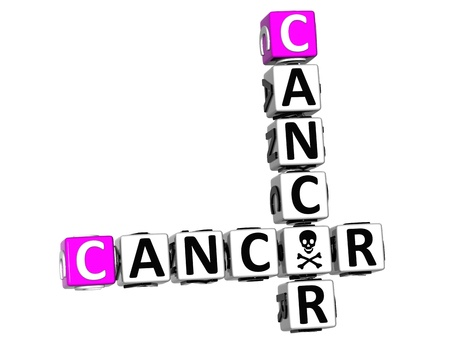 3D Cancer Crossword over white background photo