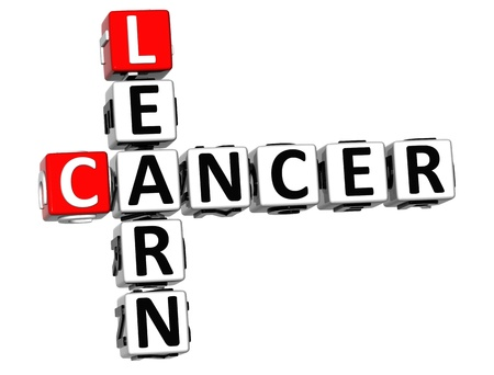 3D Cancer Learn Crossword over white background photo
