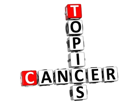 the topics: 3D Cancer Topics Crossword over white background Stock Photo