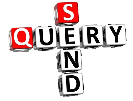 3D Send Query Crossword on white background  photo