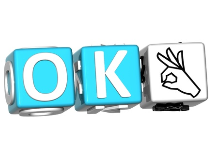 OK blue Sign on a White Background. Stock Photo - 12308889