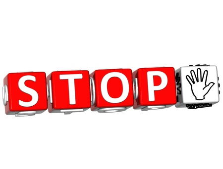 3D Stop block text on white background. Stock Photo - 12308922