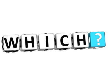 qa: 3D word Which with question mark. Block text over white background. Stock Photo